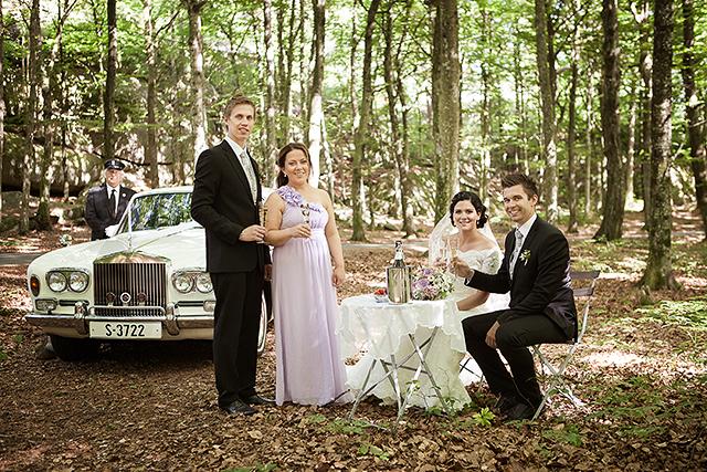 Sjåføren hadde med bord, vin og bær